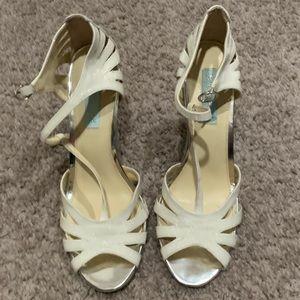 White Glitter Strappy Sandals